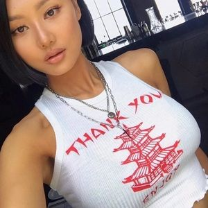 Chinese Takeout Ribbed Crop Tank